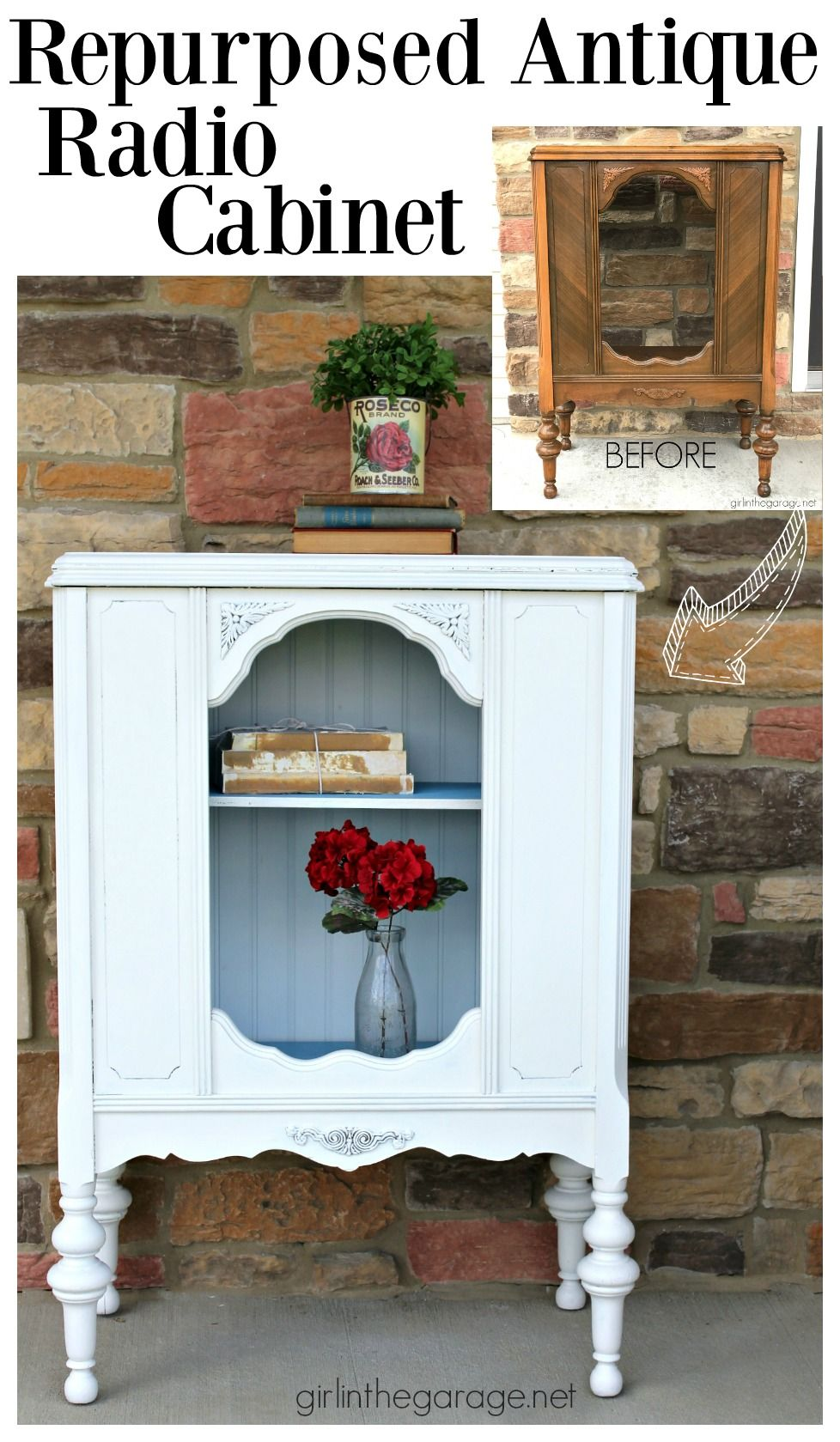 Repurposed antique radio cabinet to bookcase - by Girl in the Garage - Antique Repurposed Radio Cabinet Upcycling Ideas And
