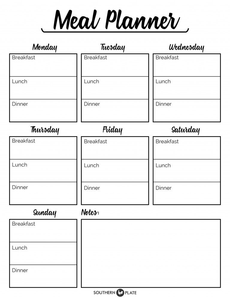 Free Printable Menu Planner Sheet  HttpWwwSouthernplateCom