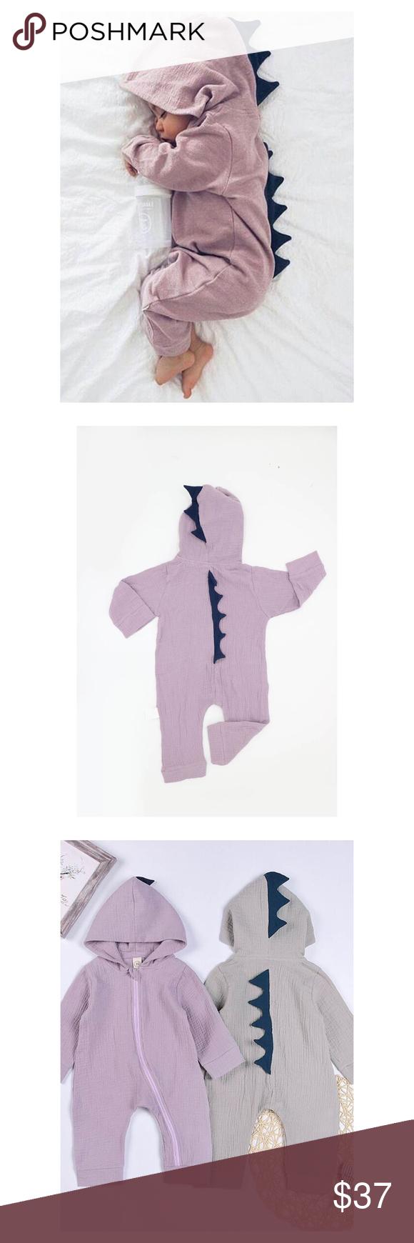 3286e600828 Purple Long Sleeve Dinosaur Jumpsuit Baby Boy Girl Brand  One Rainbow Size   6M Long
