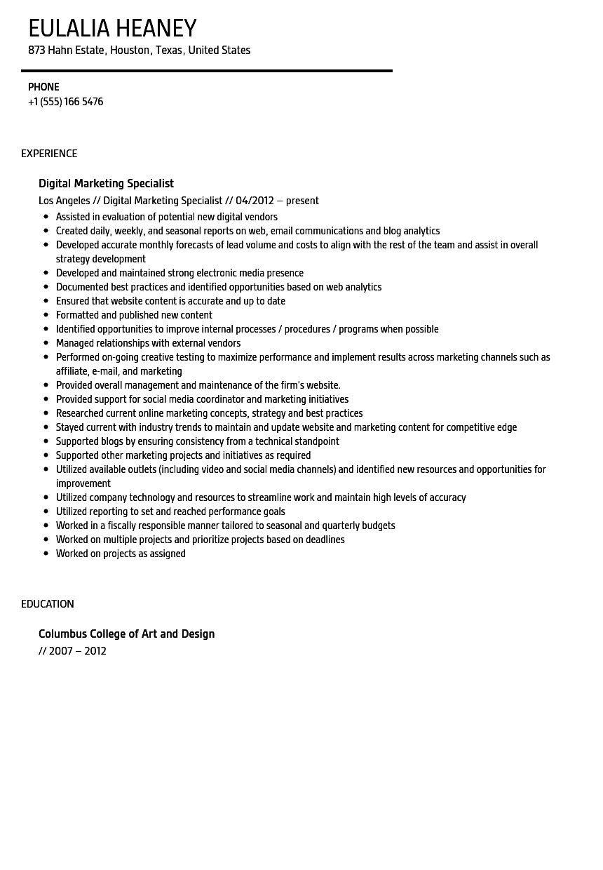 Digital marketing resume example favored digital marketing