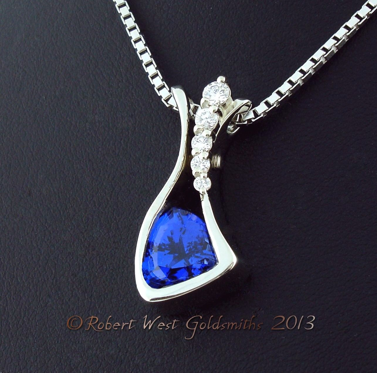Ladies KT White Gold Custom Tanzanite and Diamond Pendant set with