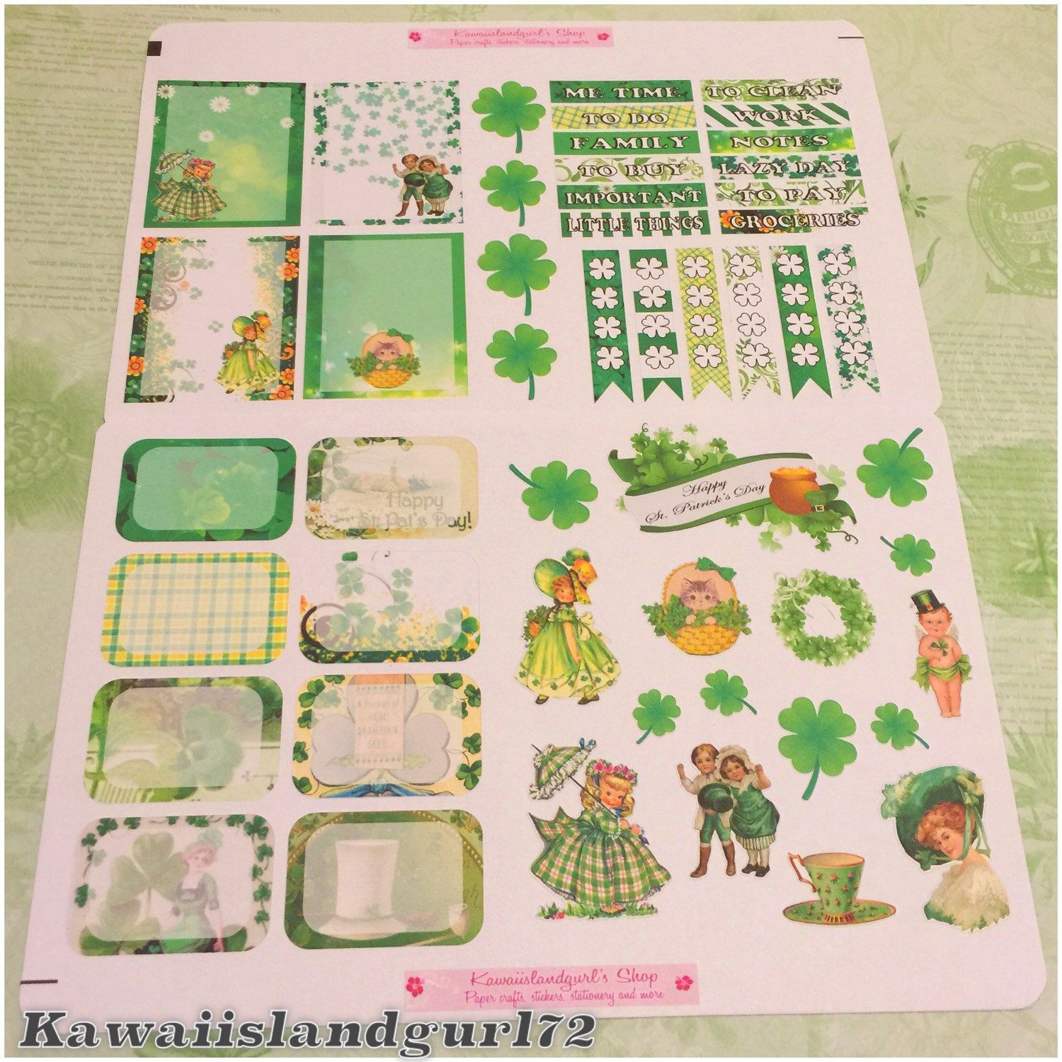 These Vintage theme sticker set is perfect for your March planner layout!  Get yours today.
