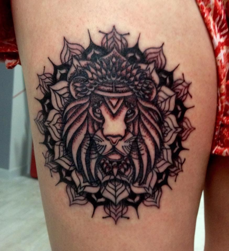 #mandala #lion #thigh #leg #tattoo #ink #design #idea #Dublin #Ireland