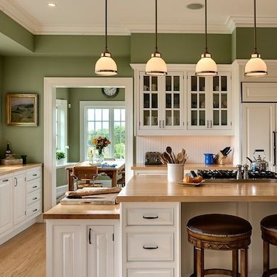 A color that's easy to live with, moss green evokes the great outdoors. White cabinets and light butcher-block counters are a