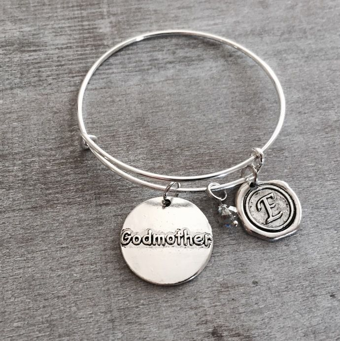 godmothers gift bangle new charm initial etsy gifts aunt shop this don deal mybluesnowflake jewelry miss bracelet godmother t for