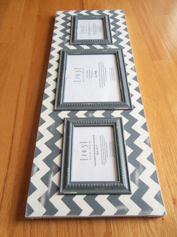 Multi opening frame, gray chevron frame, 5x7 frame, 8x10 frame ...