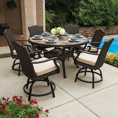 Member S Mark Heritage 7 Piece Balcony Height Dining Set With Premium Sunbrella Fabrics Balcony Chairs Outdoor Dining Furniture Patio Dining Set