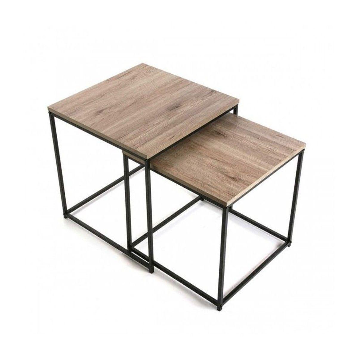 set de deux tables basses gigognes en bois et mtal noir ce jeu de 2 tables basses apporte une touche dco chaleureuse pratique vous pouvez glisser la