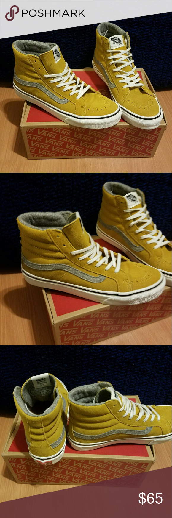 2d1417c2f1 NWBOX Sk8 Hi Slim Vintage Suede in Amber Gold New with Box Sk8 Hi Slim  Vintage Suede in Amber Gold. Never worn. Rad suede gold outside with grey  Vans logo ...