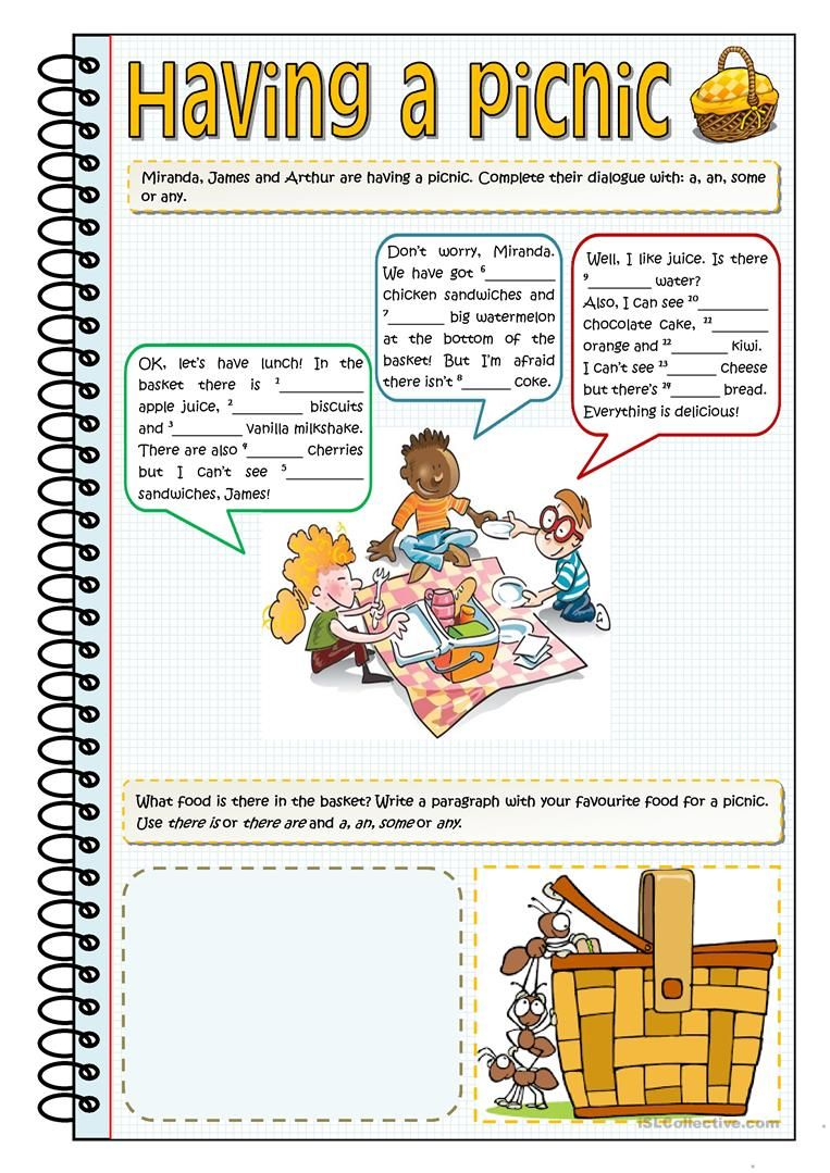 Having A Picnic A An Some Or Any Worksheet Free Esl Printable