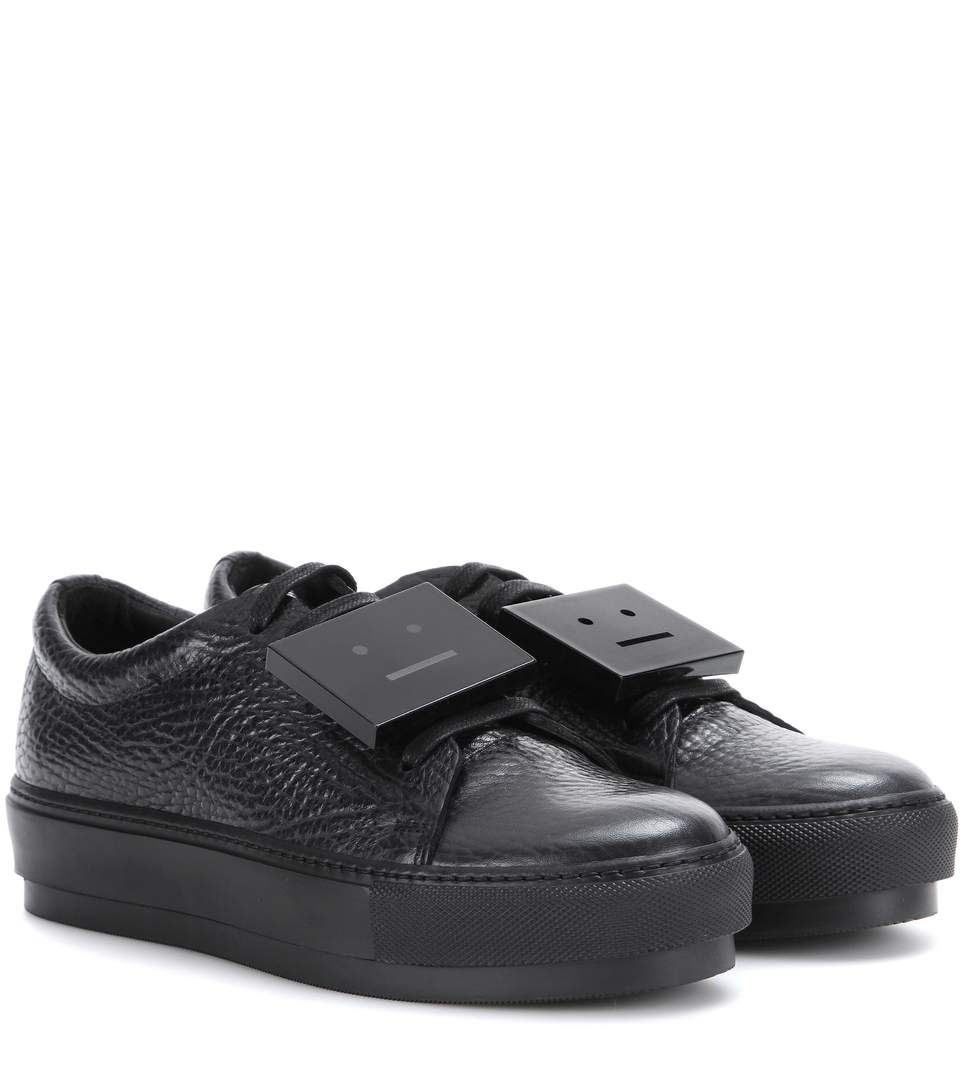 Adriana black leather sneakers