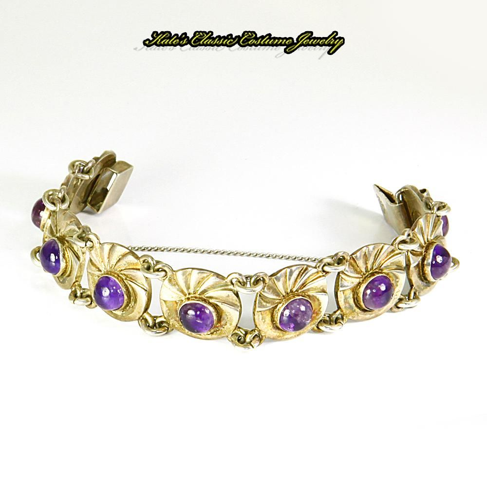 Sterling Silver & Amethyst Cabochon Bracelet – Pre-Eagle 1930s/40s – Mexico – Signed ARCOZ
