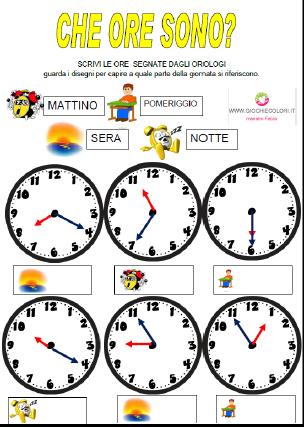 giochi con l orologio scuola primaria