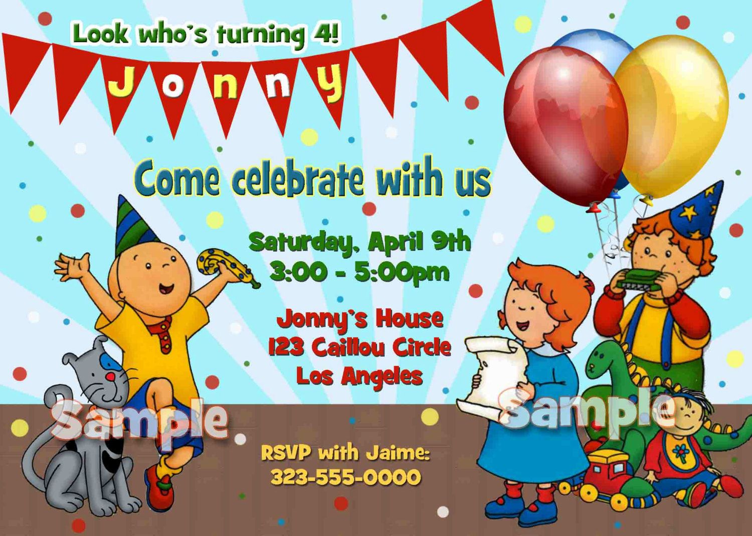 caliou birthday party | Caillou Birthday Party Invitation | Parker ...