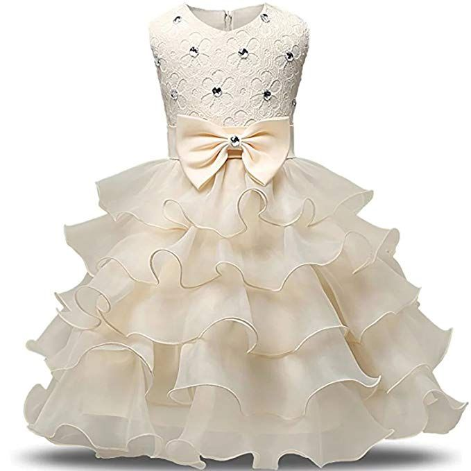 90f0c017607 ZaH Baby Girl Dress Christening Baptism Gowns Sequined Formal Dress (Champagne