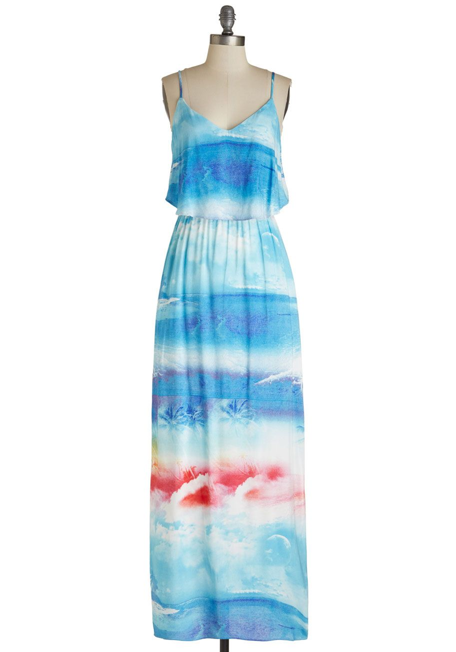 Maxi dresses to wear to a wedding  Gotta Jetty Dress This tropical print maxi dress just begs to be