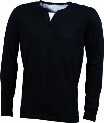 James & Nicholson Herren Shirt Henley Longsleeve, black white, S, JN917 blwh
