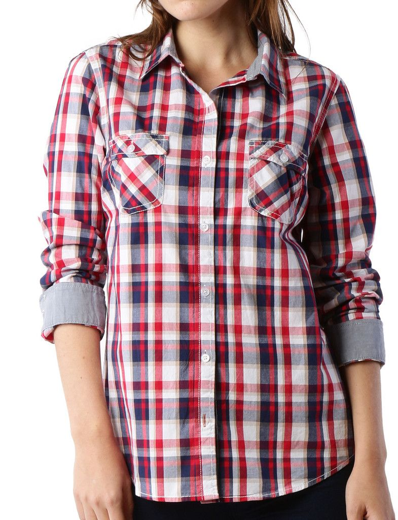 PREMIUM Womens Lightweight Soft Cotton Long Sleeve Plaid Western