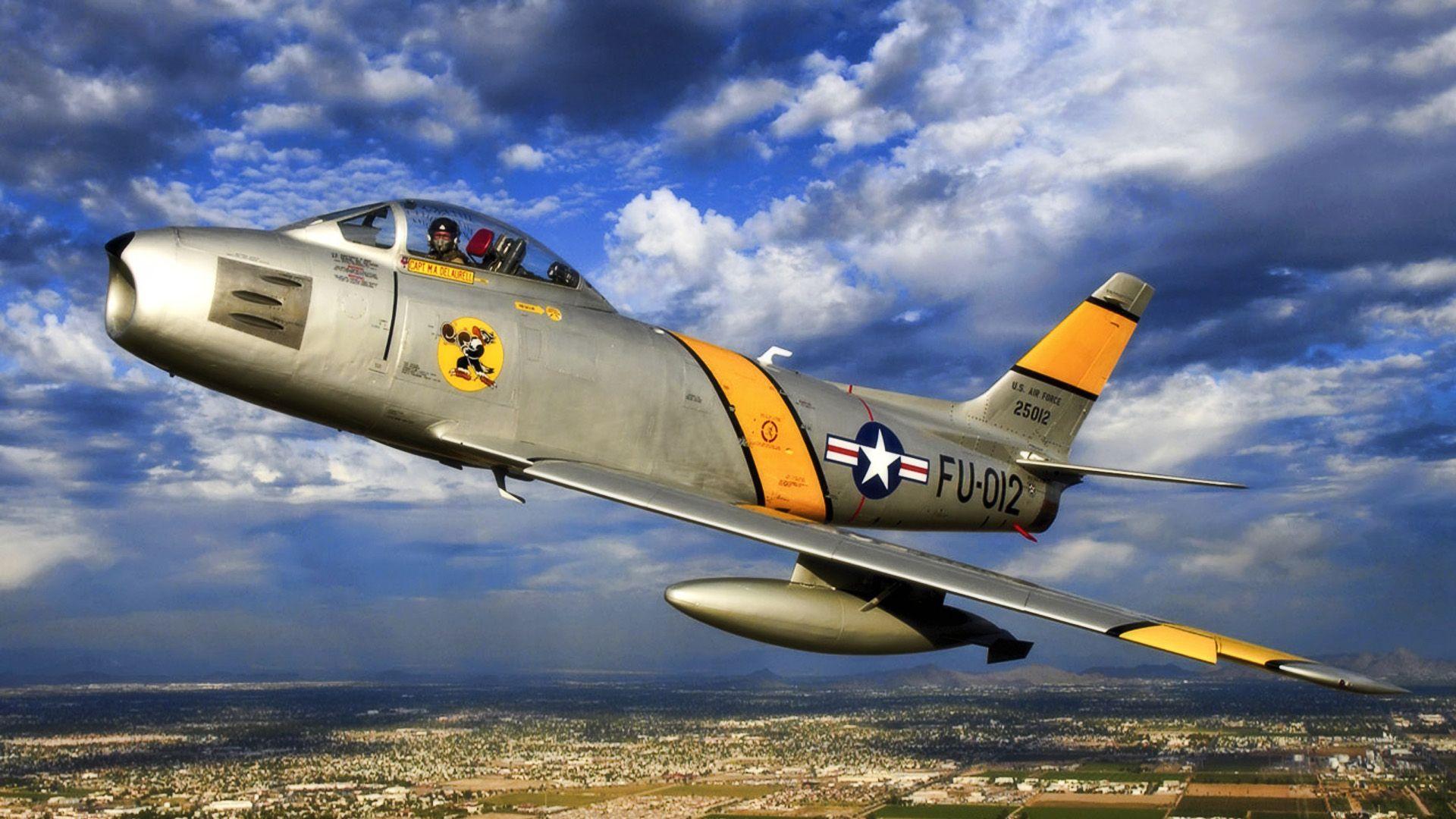 Обои painting, ww2, jet, Airplane, aviation, North american f-86d sabre, war, jet. Авиация foto 11