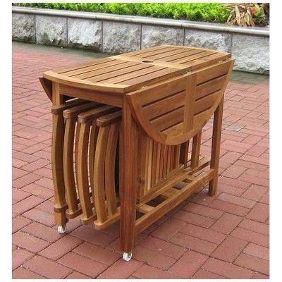 New 5 Piece Folding Outdoor Patio Table, Folding Patio Furniture Set