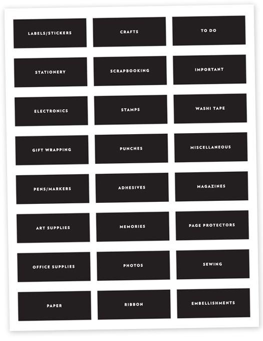 Free Download Organizing Labels Craft Room Organization Labels