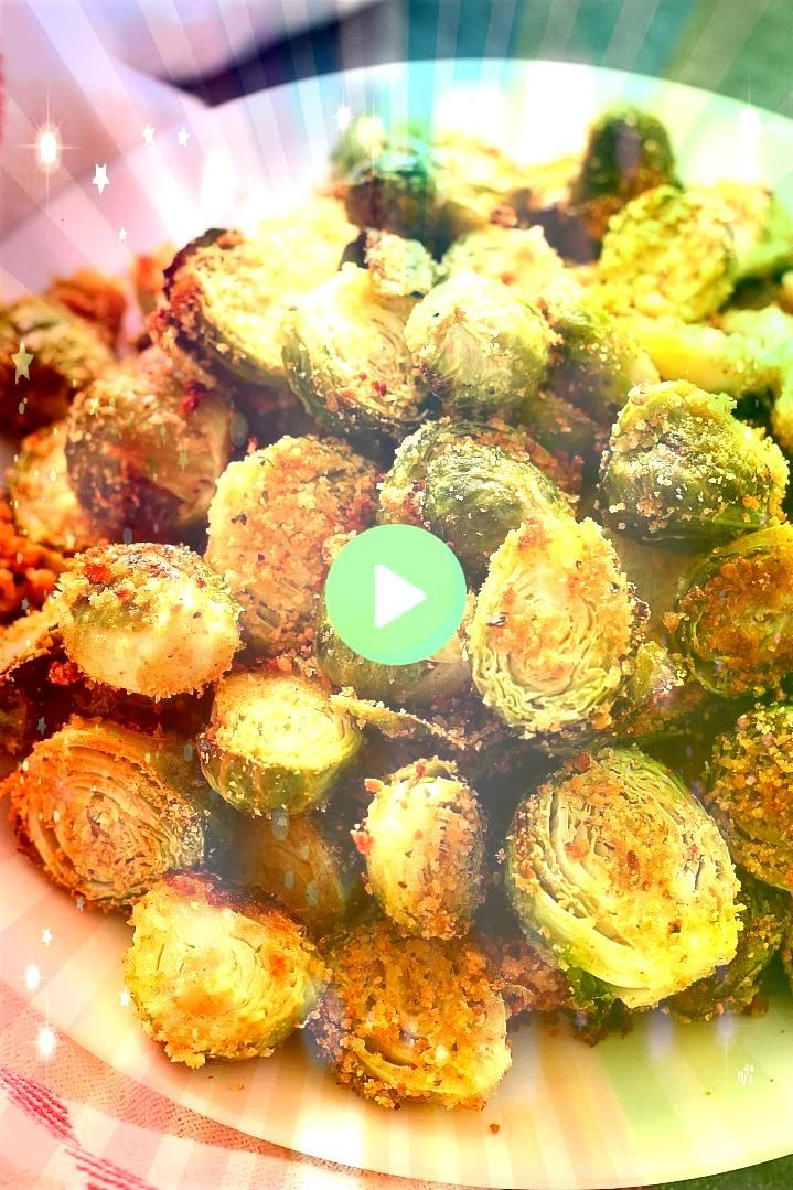Parmesan Roasted Brussels Sprouts Recipe  fragrant and flavorful vegetable side dish Perfectly roasted Brussels sprouts with Parmesan breadcrumbs coating and spicesGarlic...