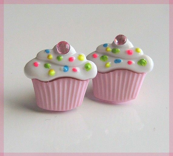 Food Series Cute /& Quirky Pink Cupcake Muffin Wood  Novelty Mini Stud Earrings
