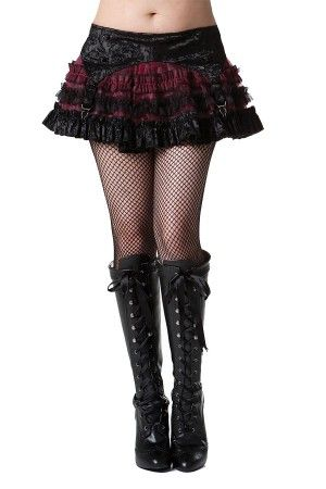Black and Burgundy Burlesque Skirt with Attached Garter