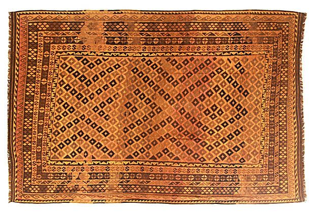 "Global Ground  8'3""x12'5"" Dante Flat-Weave Rug, Gold"