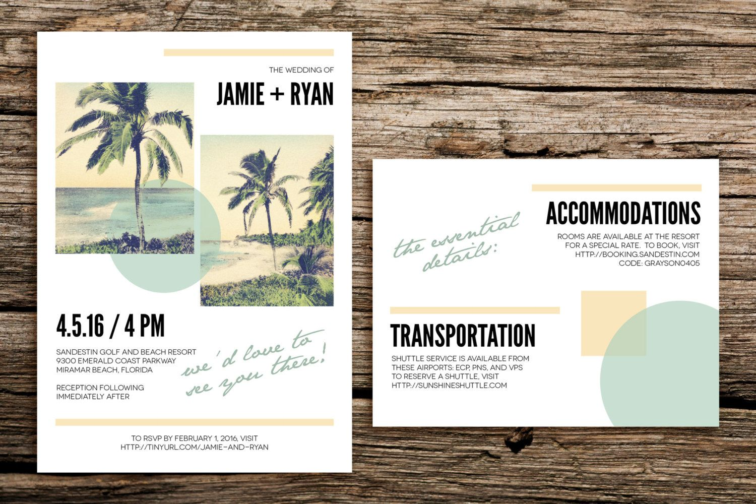 Modern Beach Wedding Invitation Set // Destination Wedding ...