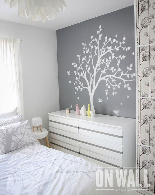 white tree wall decal, wall art, home decors, murals, removable