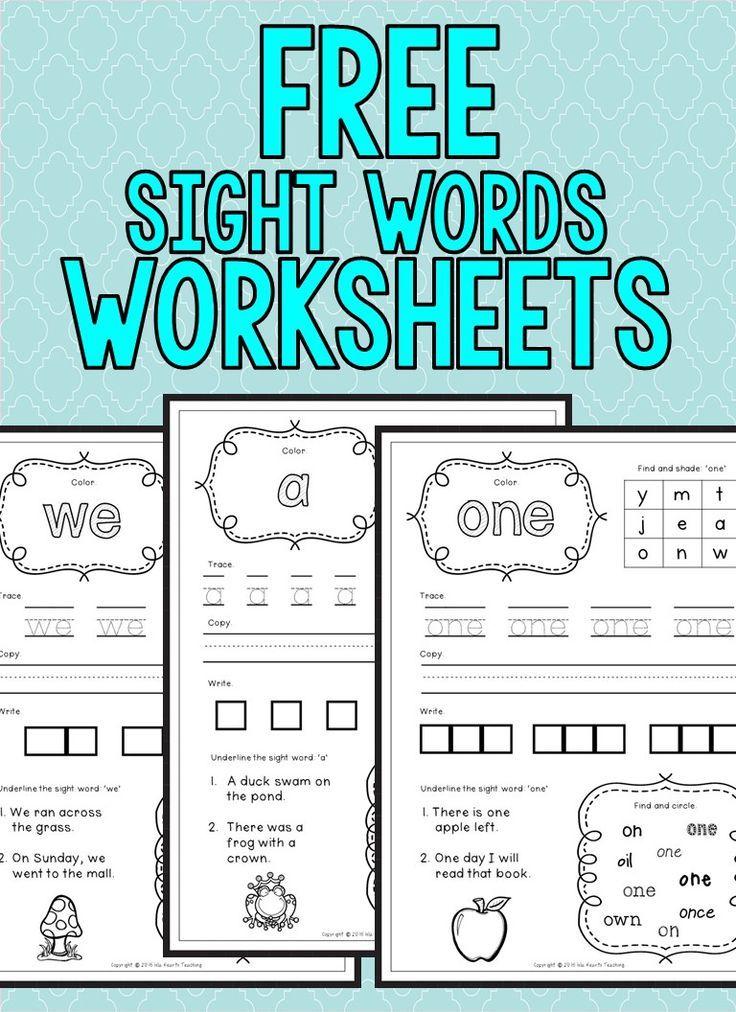 FREE Sight Words Worksheets (Kindergarten)