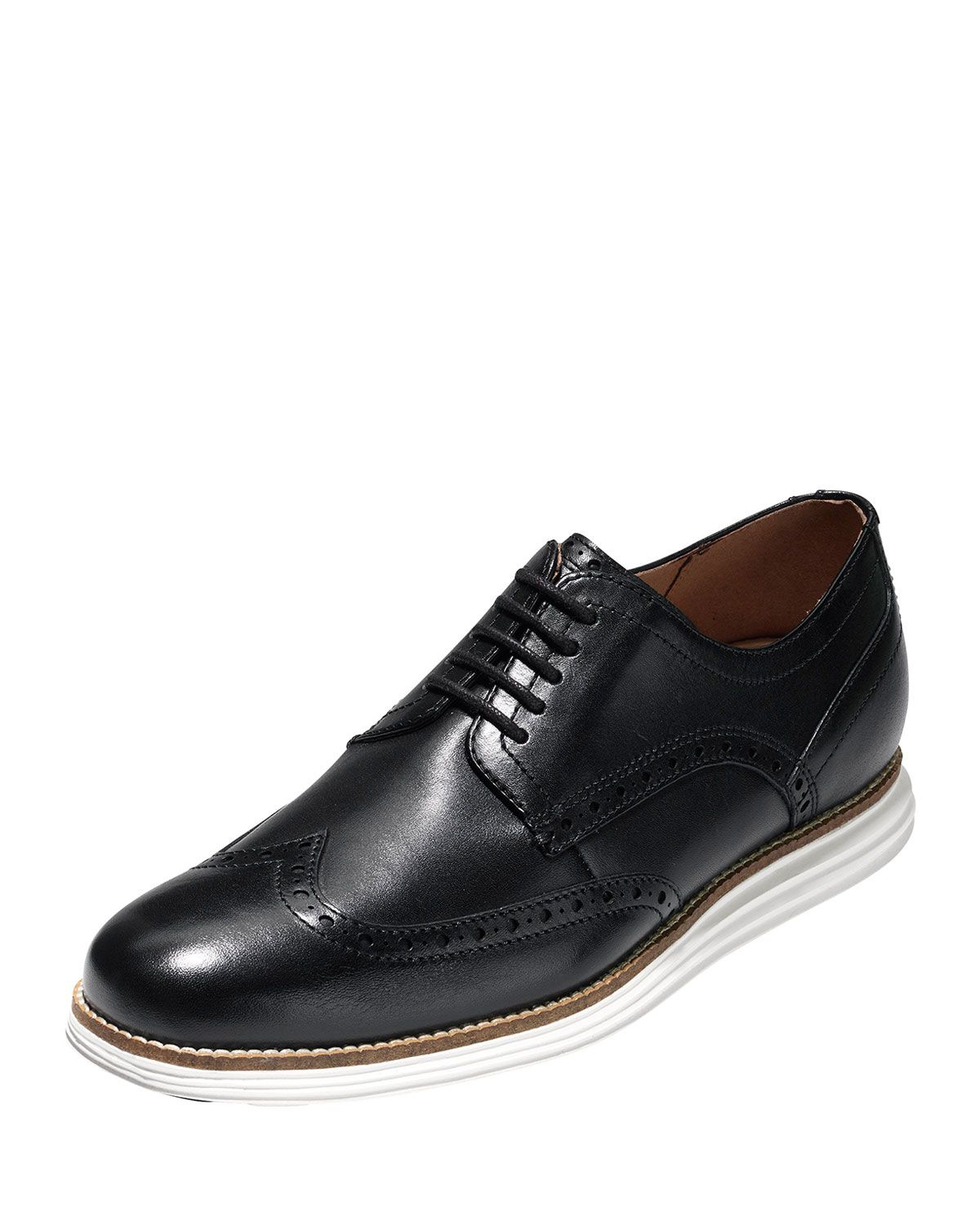 73589d6227b COLE HAAN MEN'S ORIGINAL GRAND LEATHER WING-TIP OXFORDS, BLACK. #colehaan  #shoes