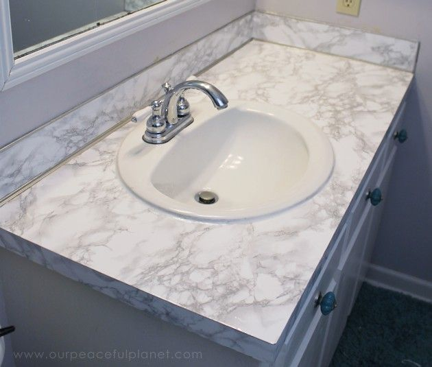 How To Do A Sturdy Stunning Granite Contact Paper Countertop Makeover Countertop Makeover Contact Paper Countertop Bathroom Countertops