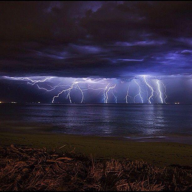 Wild Lightning Seen From City Beach In Western #Australia