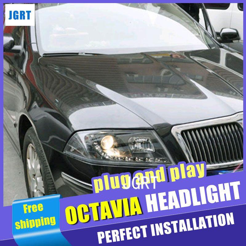 Car Styling Headlights 2006 2009 For Skoda Octavia Doubleu Angel Eye Led Drl Lens Double Beam H7 Hid Xenon Bi Xenon Lens Skoda Octavia Angel Eyes Octavia