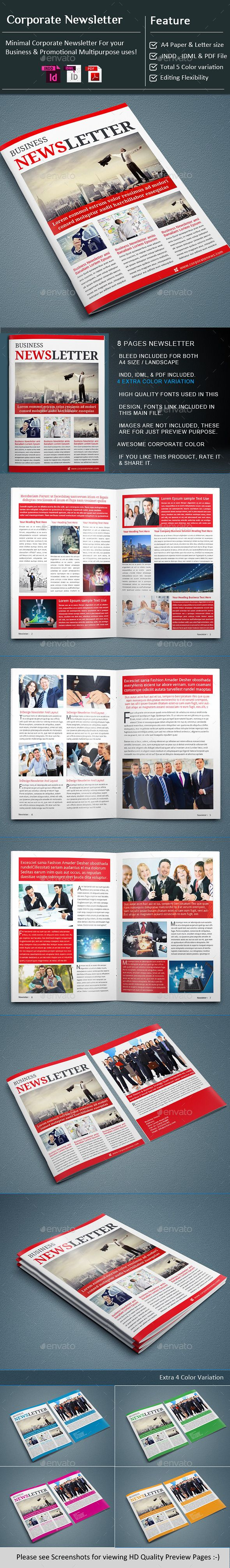 Indesign  Corporate Business Newsletter Template  Newsletter