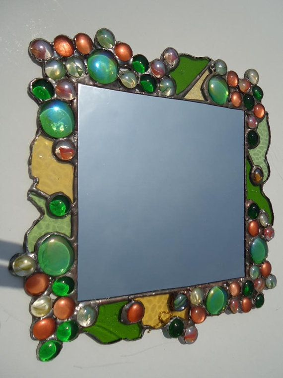 Items similar to Abstract Stained Glass Multicolors Nuggets Modern Mirror on Etsy