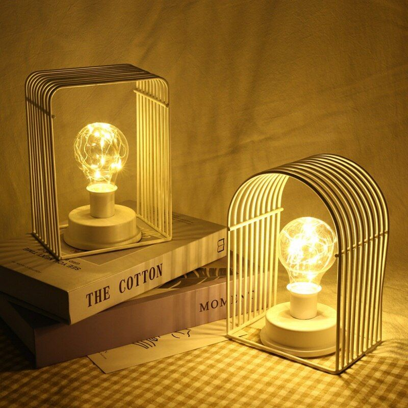 Wrought Iron Candle Holder Night Light Minimalist Lamp Ins Night Modeling Lamp Home Decoration Hang In 2020 Wrought Iron Candle Holders Led Night Lamp Candle Table
