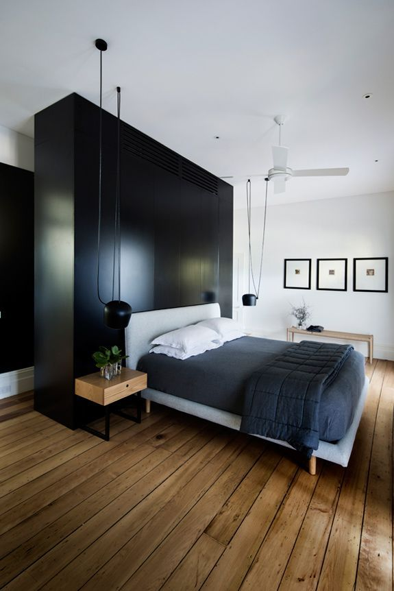 Wooden Flooring Designs Bedroom Mesmerizing This Black White And Modern Bedroom Features Flos Aim Lighting Decorating Inspiration