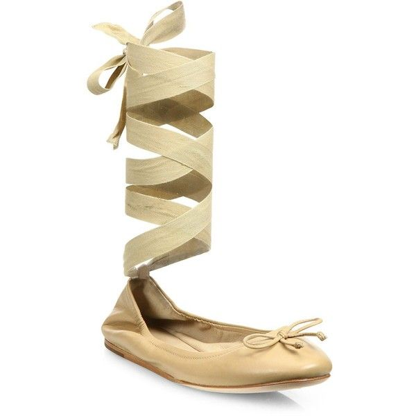 Saks Fifth Avenue Leather Ankle-Wrap Ballet Flats qO32mPJ