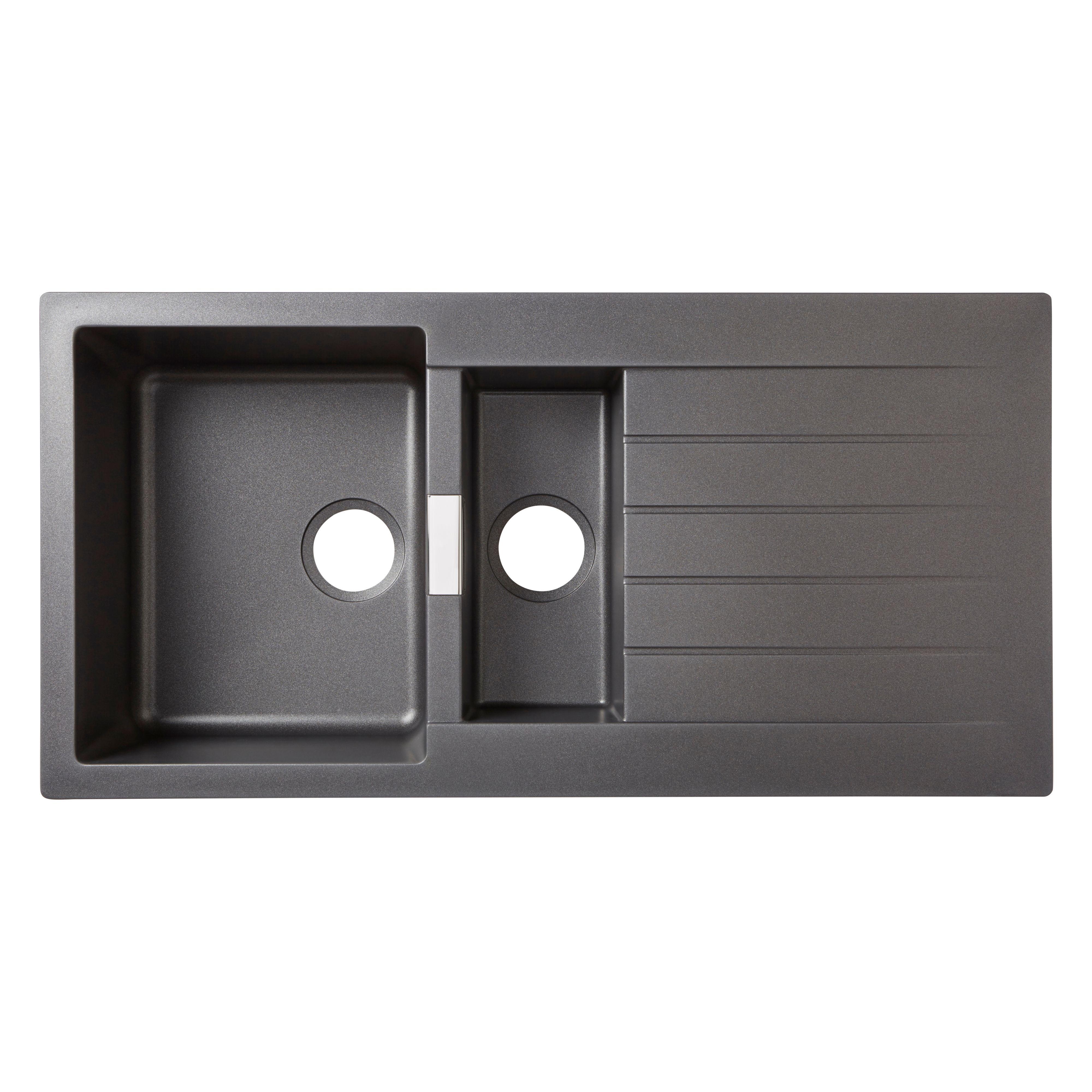 B Q Kitchen Cabinets Sale: Cooke & Lewis Galvani 1.5 Bowl Grey Composite Quartz Sink