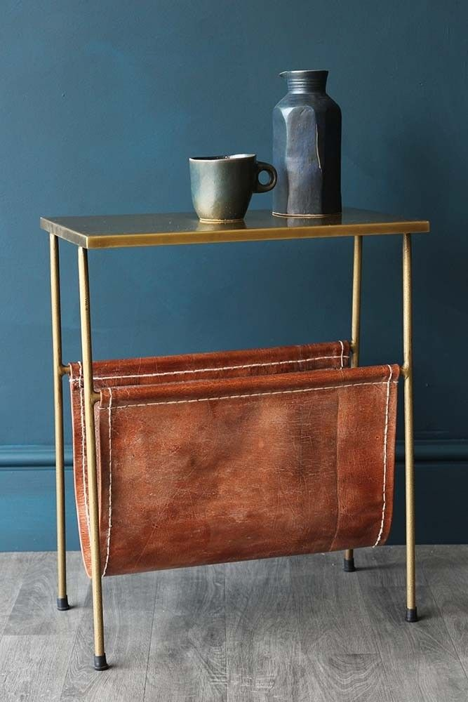 Gatsby Side Table With Leather Magazine Holder View All Furniture