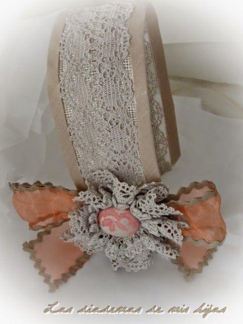 Las diademas de mis hijas tocados en beig y coral lazos - Diademas de encaje ...