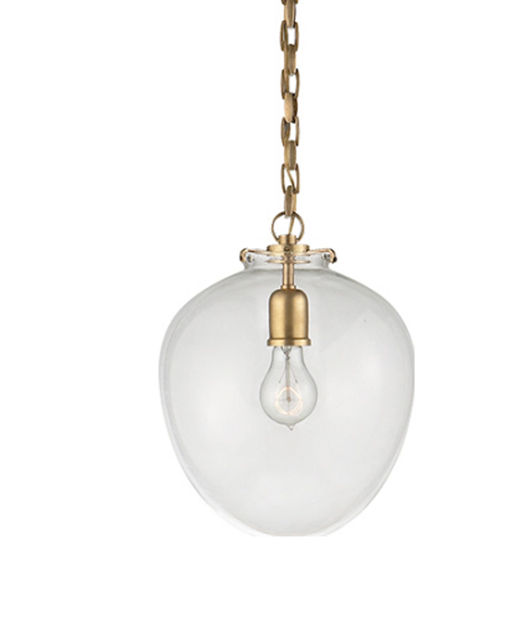 Large Katie Acorn Pendant, Clear Glass with Antique Brass