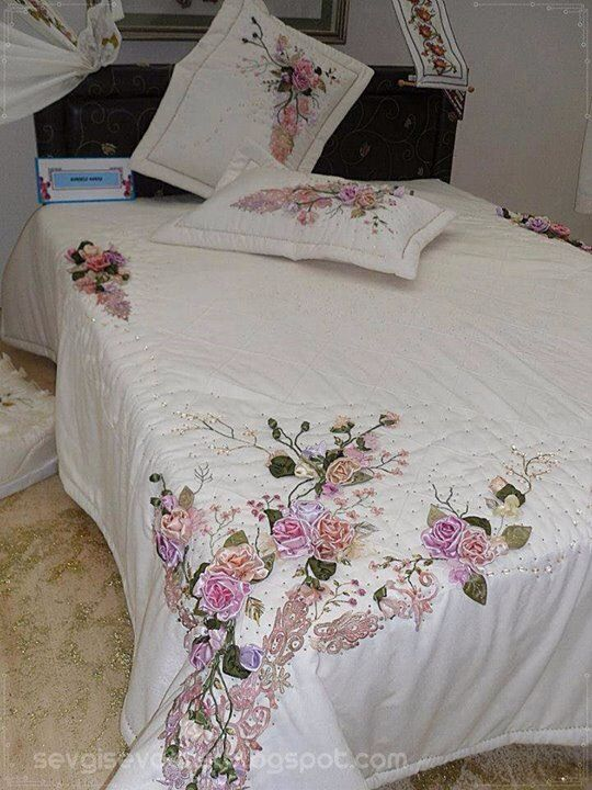 Wonder Full Pillows Bed Sheet Pinterest Ribbon Embroidery