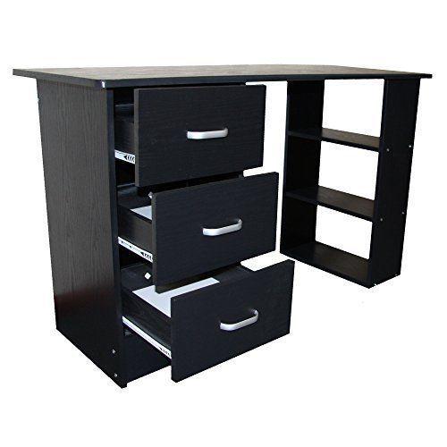 Prime Redstone Black Computer Desk 3 Drawers 3 Shelves Home Machost Co Dining Chair Design Ideas Machostcouk
