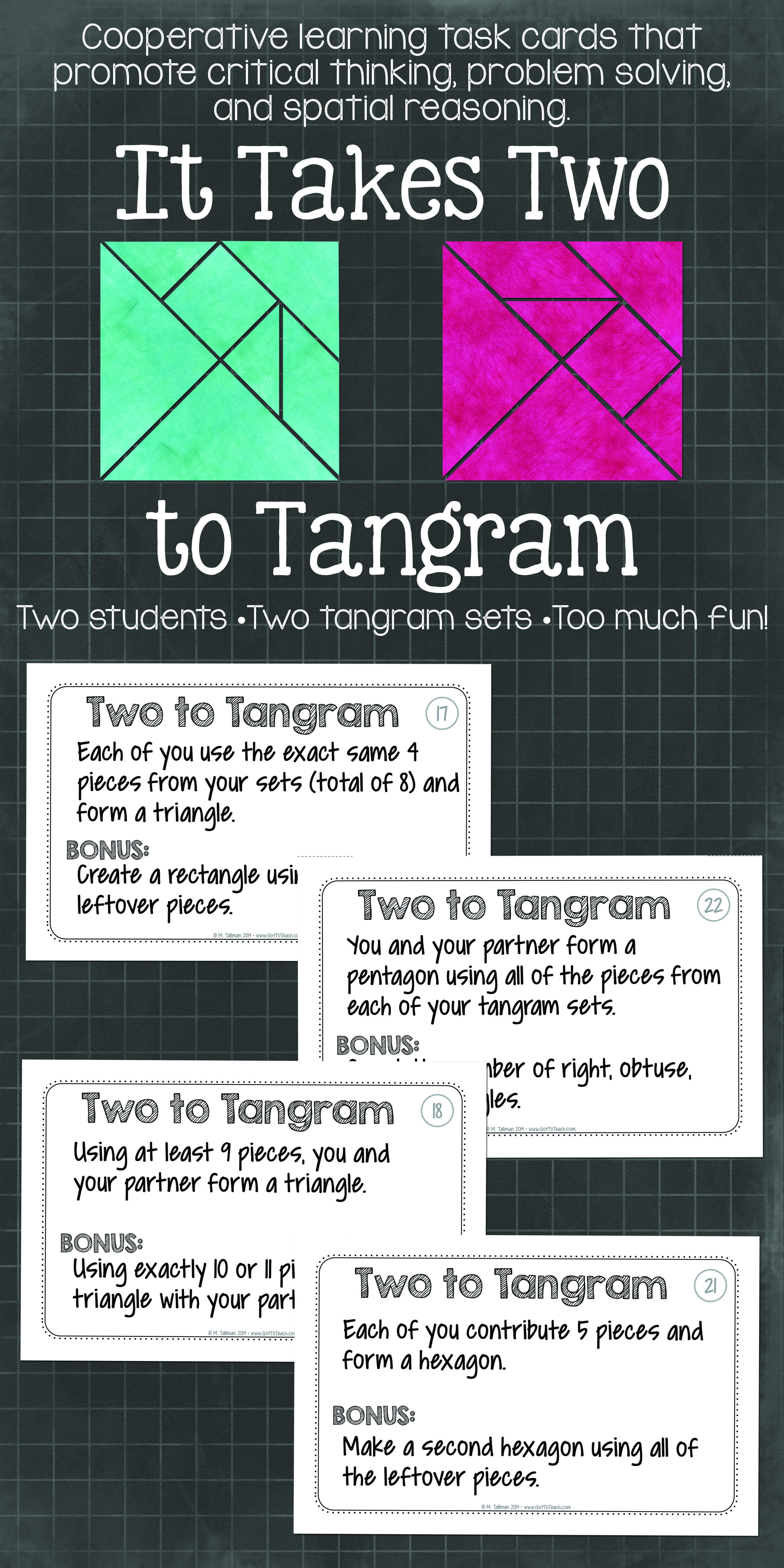 It Takes Two To Tangram Cooperative Learning Tangrams Activities That Get Will Your Students Thinking And Commun Teaching Math Learning Math Elementary Math [ 6600 x 3300 Pixel ]