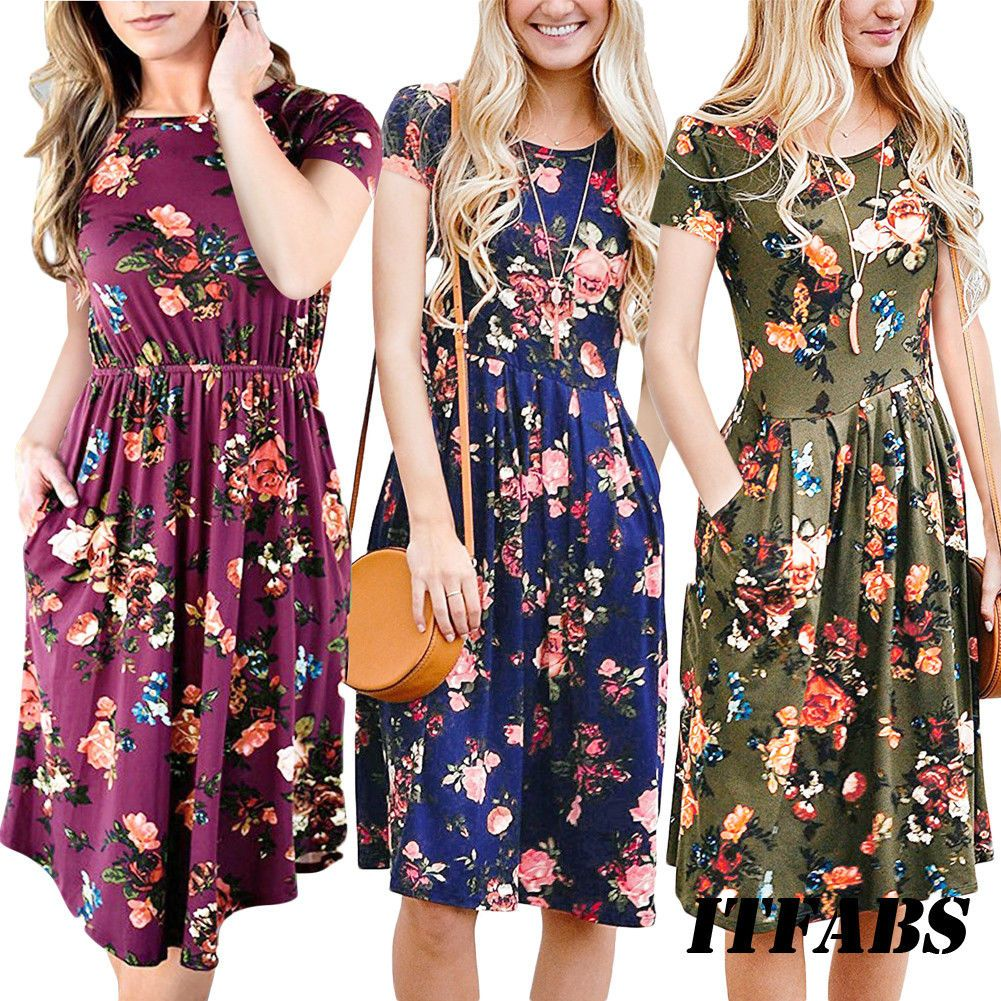 0b78b6d1f55c Womens Floral Sundress Midi Length Summer Evening Cocktail Party Beach Dress  New