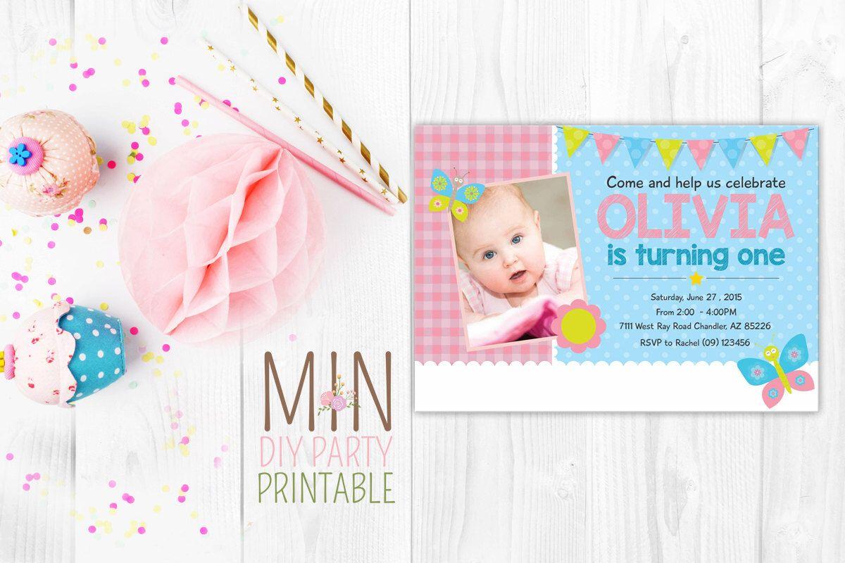 Butterfly 1st Birthday Photo Invitation,Sweet Girls 1st Birthday ...